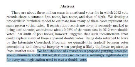 "One Person, One Vote """" Crosscheck Study"